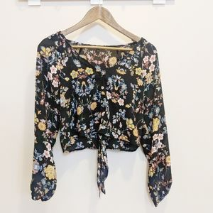 Sweet Rain Tie Front Floral Print Cropped Blouse